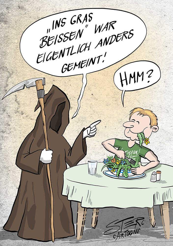 Cartoon Sensemann Tod vegan